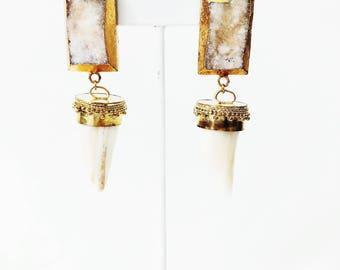 Druzy + Boho Horn Earring