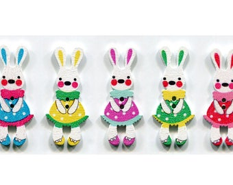 buttons 4 Bunny 3.9 cm choice of color, wood