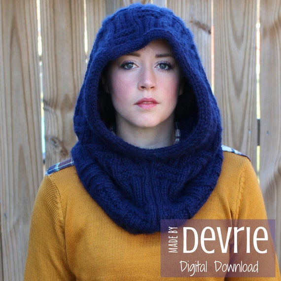 DIGITAL Download Knit hood Knit Hood Pattern Knit cowl