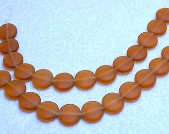 Amber Coins- recycled sea glass beads