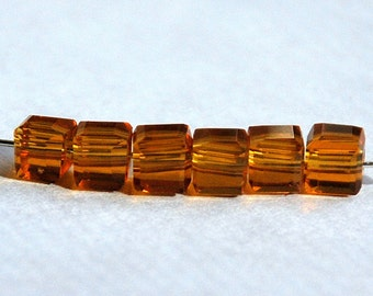 20 pcs 4mm Faceted Transparent Amber Crystal Cube Beads