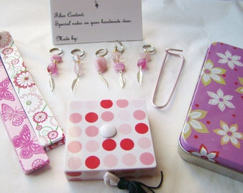 Supplies Kit for Knitters (Great Gift Idea)-  Pink Feather