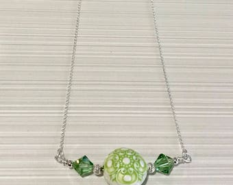 Sterling Silver, Swarovski Crystal and Acrylic Bead Necklace - FREE SHIPPING