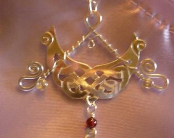 Pictish dream boat silver pendant, SquareHare, Vegan, Free Postage, UK Celtic