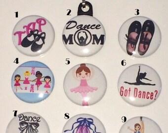 Dancers Zipper pulls, pins and magnets