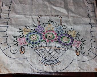 Vintage Flower Basket Embroidered Dresser Scarf Doily AS IS
