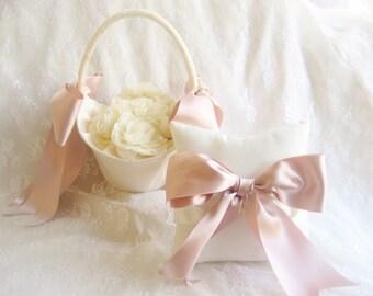 Large Flower Girl Basket Rose Gold Ribbon Extra Large Hurricane Basket Ivory or White Basket with choice of ribbon colors