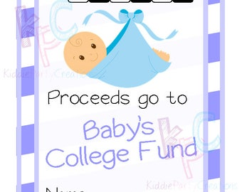 Baby Shower College Fund Raffle Ticket 12 Per Page Blue {INSTANT DOWNLOAD}