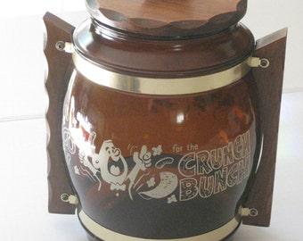 Cookie Jar, Vintage Crunch Bunch Cookie Jar, Siesta Ware 17, Glass and Wood Storage Jar
