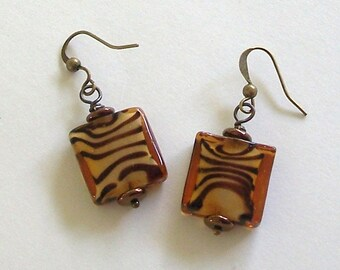 Honey Gold and Topaz Brown Square Glass Earrings by Carol Wilson of Je t'adorn