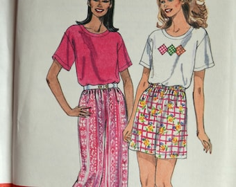 Uncut 1990s Simplicity Vintage Sewing Pattern 7578, Size XS-XL; Misses' Top, Pants, and Shorts