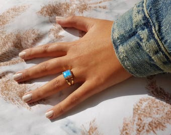 Blue Opal ring - 14k solid Gold Opal Ring Blue Opal  October Birthstone  Opal Jewelry  14k Gold Ring, Mother's day