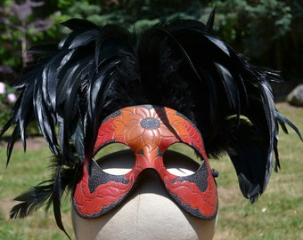 Vintage Leather & Feather Masquerade Commedia Mask