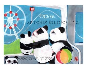 Panda Illustration. NYC Subway Elevator Line. Brooklyn. Cyclone. Coney Island. Rollercoaster. Panda Family. Poster - DFNQ to Coney Island