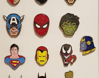 Marvel/DC retro Superhero Ultimate enamel pin set