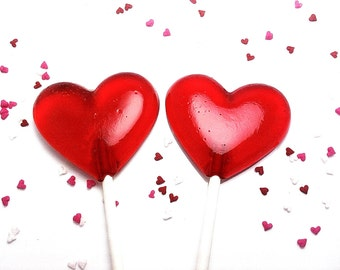 12 - 2 INCH HEART LOLLIPOPS - Valentines Day or Wedding Lollipops