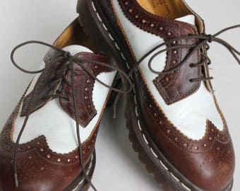 Vintage Women's Brown and White Dr. Martens Spectators Doc Martens Leather Shoe Ladies Size 5 Made in England Lace Ups