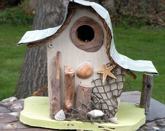bird house, Nautical birdhouse, beach art, functional birdhouse, garden art in color options, gift, custom birdhouse, nautical decor
