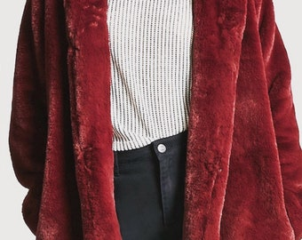 Retro Red Faux Fur Hooded Jacket Burgundy Vintage