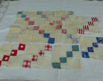 """Vintage 11 Piece Set of """" Flying Geese""""? Quilt Blocks 1930/40's"""