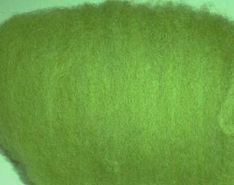 moss GREEN, Carded Sheep WOOL batt, ROVING, felting, spinning