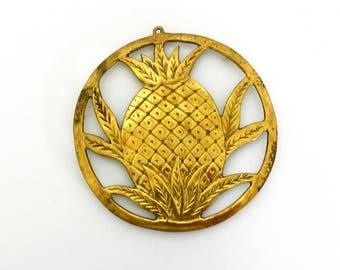 Gold Pineapple Trivet- Hollywood Regency Style