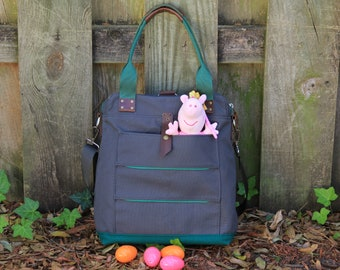 Canvas Convertible  Backpack Diaper Bag