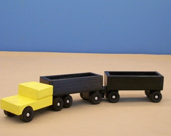 Toy Piggy  Back Tractor Trailer, Wood Cargo Tractor Trailer, Wood Toy, Wood Toy Truck, Kids Toy, Boys Wood Toy, Kids Wood Toy