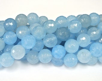 14mm Round Beads, Blue Agate, Light Blue Agate Beads, Round Beads, Natural Stone Beads, faceted Agate Bead, Wholesale Beads