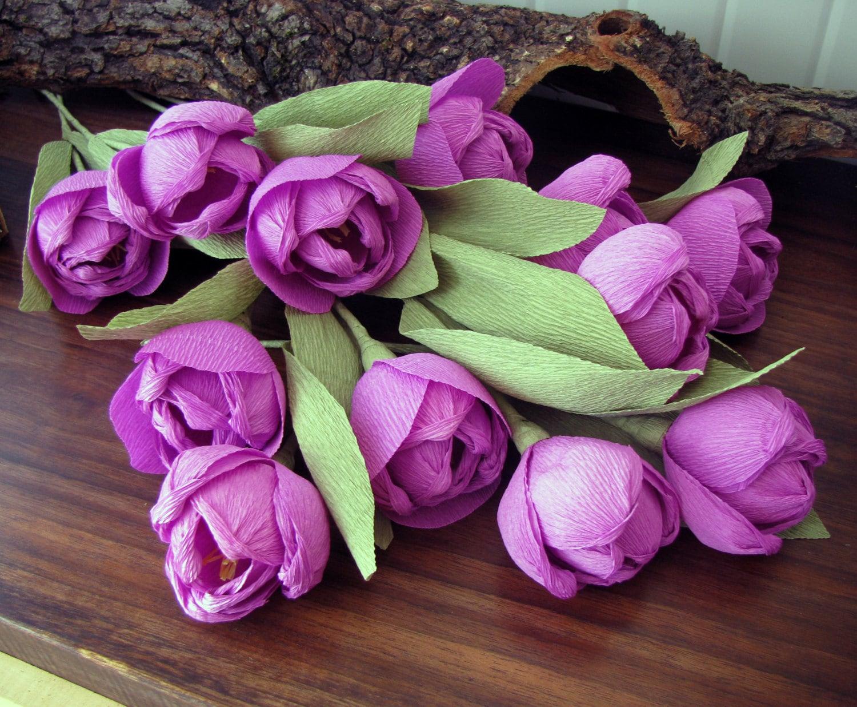 Purple paper tulips purple flower wedding bouquet centerpieces zoom izmirmasajfo
