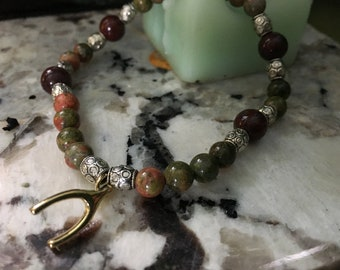 Unakite Jasper and Poppy Jasper Crystal Bracelet with Wishbone Charm