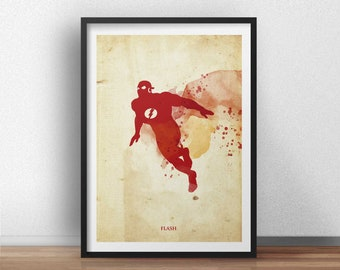 Retro Vintage Flash Poster  - Superhero geek art print - Available in different sizes. Check the drop-down menu for your choice