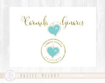 Photography Logo Design Heart Logo Gold Foil Logo Boutique Logo Watercolor Logo Decor Logo Design Watermark