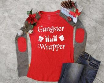 Shirt, Shirts, Christmas Shirt, Christmas Top, Christmas Jumper, Funny Christmas Shirts For Women, Gangster Wrapper Women's Christmas Elbow