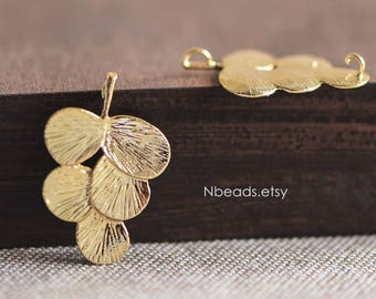 6pcs Gold plated Brass Leaf Pendants with 2 Loops, Large Leaf Charm Connectors 29mm, Lead Nickel Free (GB-059)
