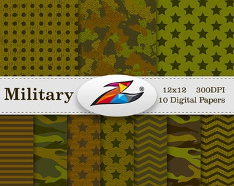 Camo digital paper Military Background Printable Army Camouflage Background Pattern Army Stripe Star Polka Dots Scrapbook Paper