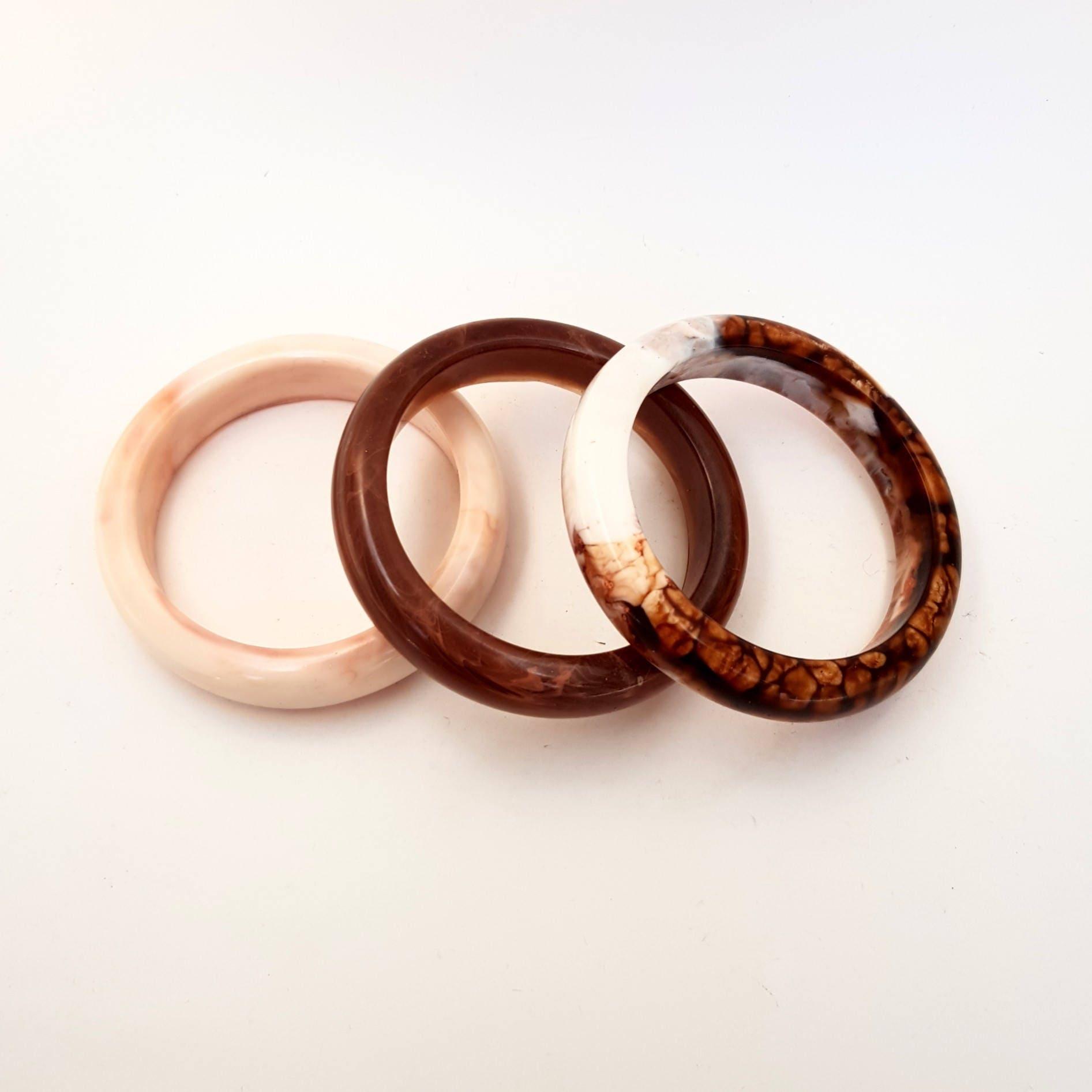 Brown Resin Bangle Handmade Thin Round Gloss Bracelet Nude