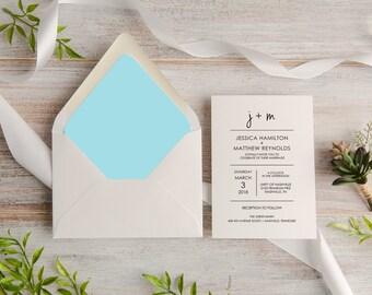Modern Calligraphy Wedding Invitation Suite, Custom, Traditional, Envelope Liner, Made To Order Deposit