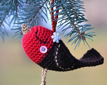 Crochet pattern - Robin bird - Christmas ornament / Decoration / Amigurumi Digital pattern / DIY