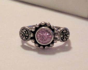 Sterling Silver Marsala Marcasite and Amethyst Ring. Size 7.