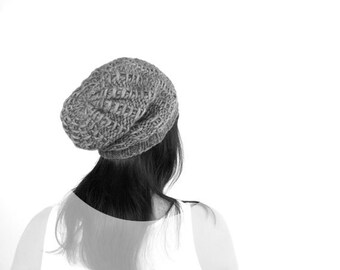 PDF Knitting PATTERN / Printable Knitting INSTRUCTIONS to Hand Knit the Tilly Mock Rib Slouch Hat / Beanie. Instant Download Hat Pattern.