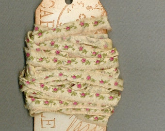 6 yards pink roses cotton seam binding doll ribbon vintage paris tag tea dyed  771  11 oohlala