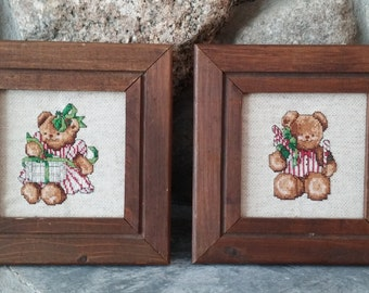 Set of 2 Vintage Cross Stitch Christmas Teddy Bear Pictures, Vintage Christmas Pictures,  Counted Cross Stitch, Christmas Decor, Vintage