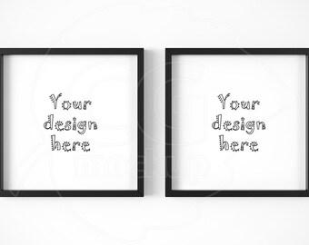 simple black frame png. Square Frame Mockups, Set Of 2 Framed Art, Black Frames, Digital Simple Png