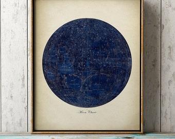 MOON CHART PRINT, blue moon art print, astronomy room decor, astronomy poster, celestial wall art,  dorm wall decor