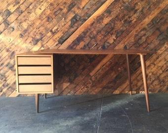 Custom Large Mid Century Style Walnut Desk
