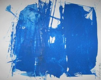 """Abstract  Minimal Blue No.3017 Ink on Paper 14x17"""" Modern"""