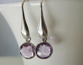 Amethyst Earrings, Gemstone Dangle Sterling Silver, February Birthstone, wedding bride bridal party