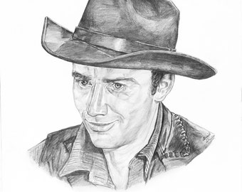 James Drury~The Virginian Portrait Drawing