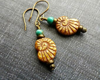 Czech glass and turquoise ammonite fossil earrings on brass//ammonite fossil earrings//antique brass earrings//czech glass earrings